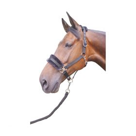 Hy Faux Fur Padded Head Collar with Lead Rope Black