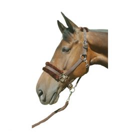 Hy Faux Fur Padded Head Collar with Lead Rope Brown