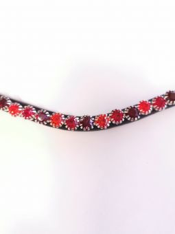 Montar Mighty Mix Browband Black Leather with Red Stones