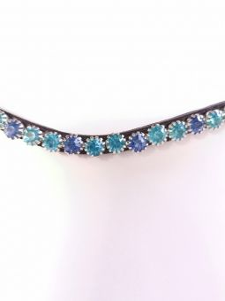 Montar Mighty Mix Browband Black Leather with Aqua Stones-Cob Clearance - Montar