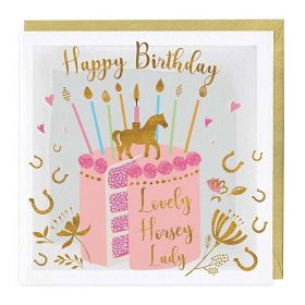 The Pink Selection Greeting Card - Happy Birthday Lovely Horse Lady Cake