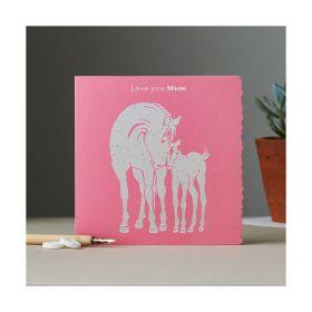 Deckled Edge Colour Block Pony Card - Love You Mum