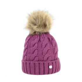 HyFASHION Melrose Cable Knit Bobble Hat-Purple
