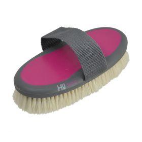 HySHINE Active Groom Goat Hair Body Brush Bubblegum Pink