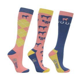 HyFASHION Newmarket Horse Print Socks (Pack 3)