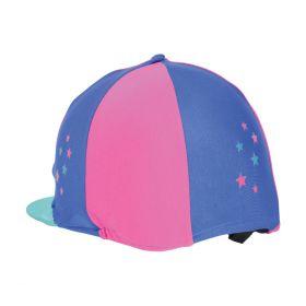Hy Zeddy Three Tone Lycra Hat Silk Flamingo Pink/Turquoise/Cobalt Blue