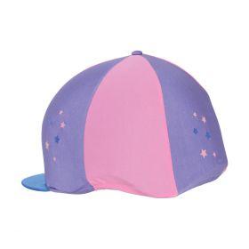 Hy Zeddy Three Tone Lycra Hat Silk Floral Lavender/Pink Powder Blush/Petrol Blue