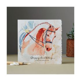 Deckled Edge Fanciful Dolomite Card Happy Birthday - Dressage Horse Head