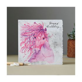 Deckled Edge Fanciful Dolomite Card Happy Birthday Purple & Pink Mare