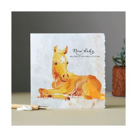 Deckled Edge Fanciful Dolomite Card New Baby