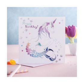 Deckled Edge Prancing Myth CardHappy Birthday - Mythical Merhorse - Deckled Edge
