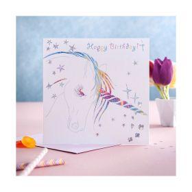 Deckled Edge Prancing Myth CardHappy Birthday - Unicorn Head - Deckled Edge
