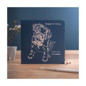 Deckled Edge Colour Block - Happy Birthday - Pug - Deckled Edge
