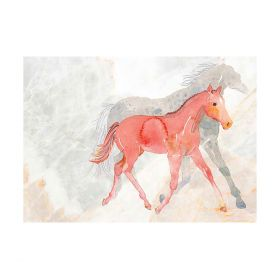 Deckled Edge A4 Watercolour Mare and Foal Art Print