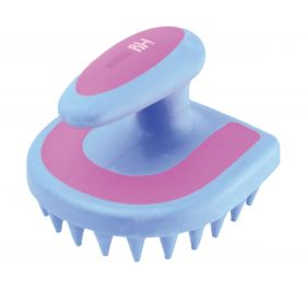 HySHINE Horseshoe Massage Brush - Blue/Pink - 11 x 11cm