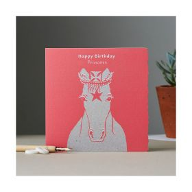 Deckled Edge Colour Block Pony Card - Happy Birthday - Princess