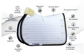 PS of Sweden PRO Collection Jump Saddlepad-White - Navy-Full (Large)