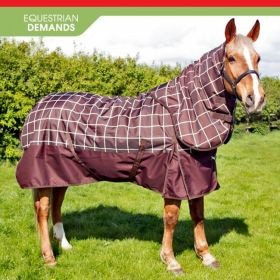 John Whitaker Chiserley 200g Checked Turnout Rug with hood Brown