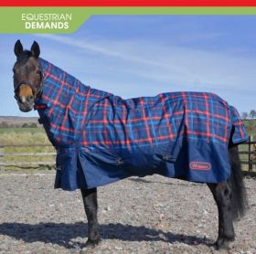 John Whitaker Kirk 250g Checked Turnout Rug with hood Navy Check