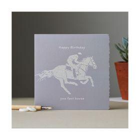 Deckled Edge Colour Block Pony Card - Happy Birthday - Race Horse