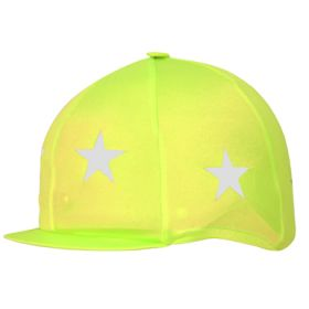 Capz Lycra Skull Cap Cover - Reflective Yellow - Reflective Stars