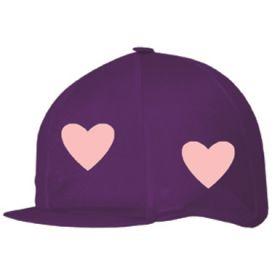 Capz Lycra Skull Cap Cover - Hearts Purple - Pink Hearts