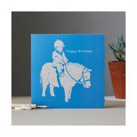 Deckled Edge Colour Block Pony Card - Happy Birthday - Shetland Pony