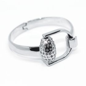 Equetech Snaffles Bit Diamante Bangle - Silver