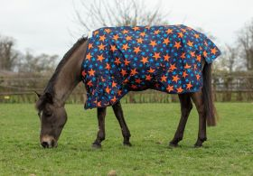 Mark Todd Turnout Rug Mediumweight Pony Navy/Orange Stars