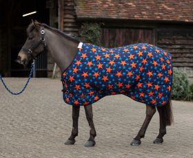 Mark Todd Stable Rug Mediumweight Pony Navy/Orange Stars-4'6 - EU 105 - Mark Todd Collection