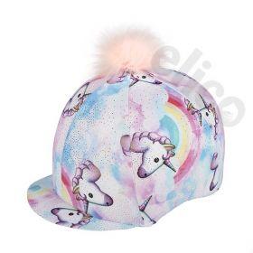 Pastel Unicorn Lycra Skull Cover with Pom Pom