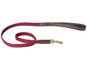 WeatherBeeta Leather Plaited Dog Lead - Brown/Maroon