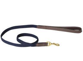 WeatherBeeta Leather Plaited Dog Lead - Brown/Navy