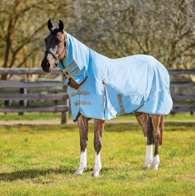 WeatherBeeta ComFiTec Classic Combo Neck Lite Turnout Rug - Light Blue Taupe