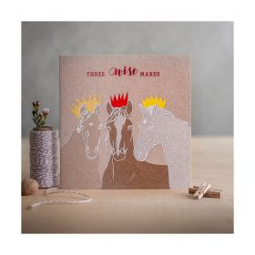 Deckled Edge Christmas Card Three Wise Mares