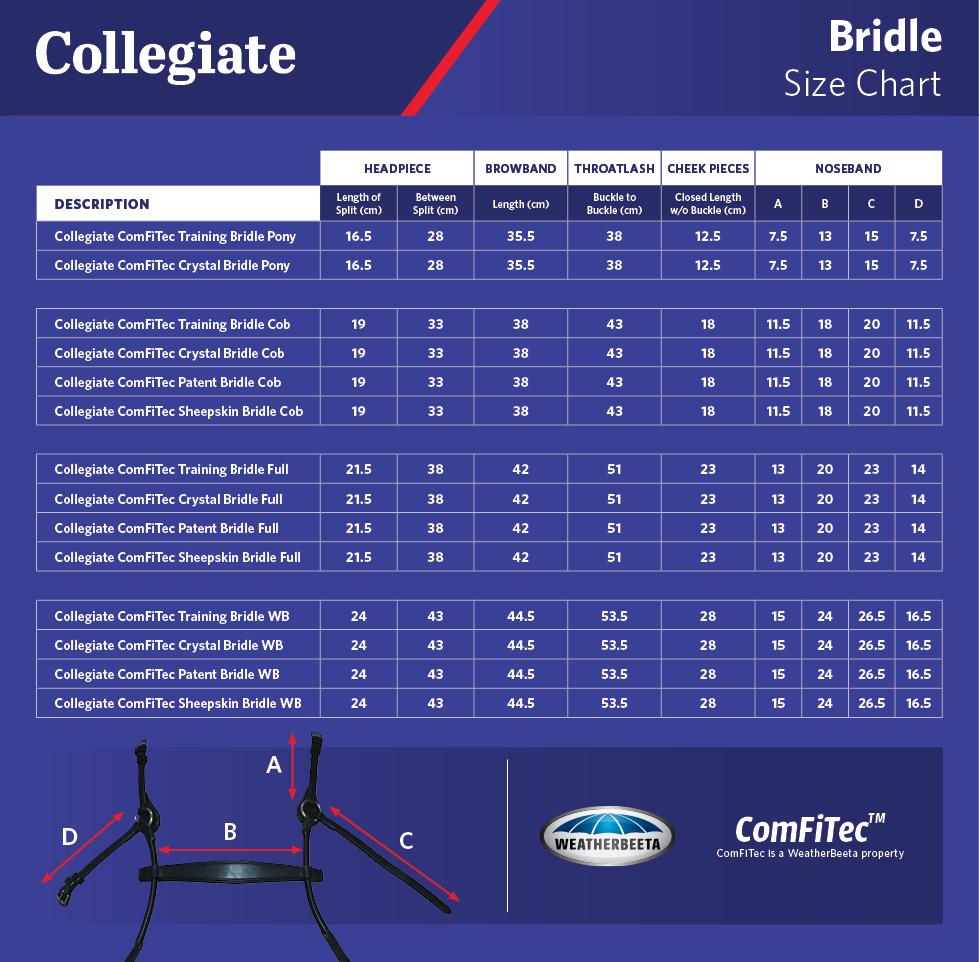 Collegiate Comfitec Bridle Size Chart