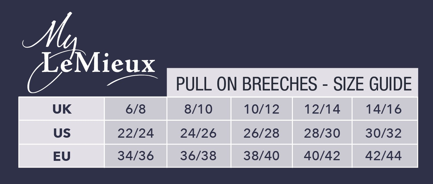 LeMieux Pull On Breeches Size Chart