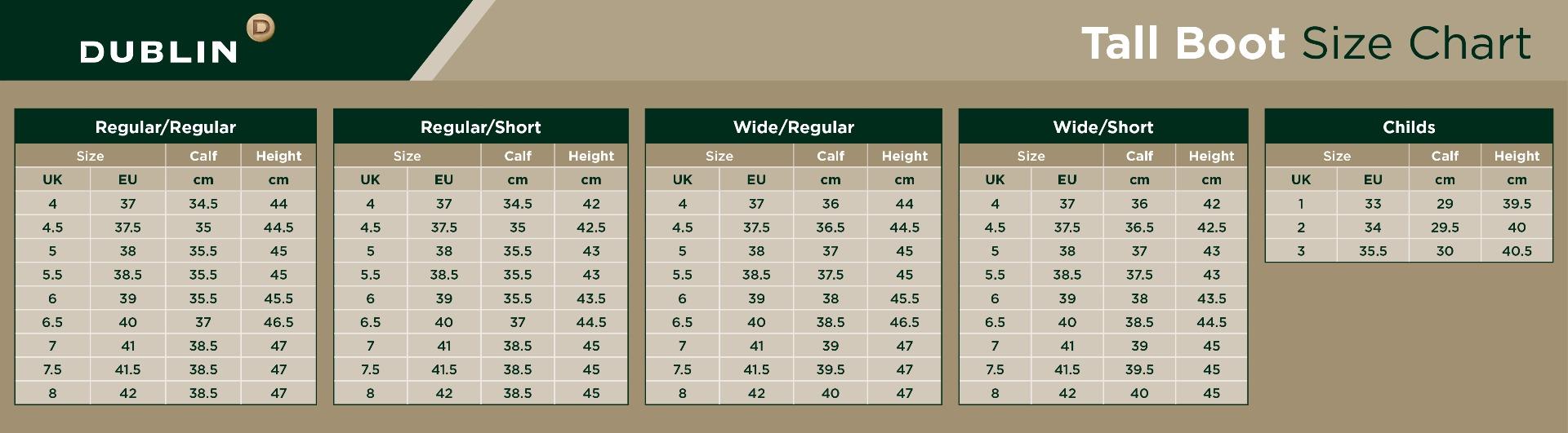 Dublin Tall Boots Size Chart