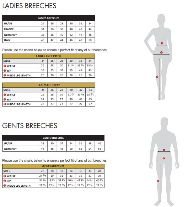 Tredstep Breeches Size Chart